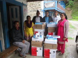 Sets of Computer and Printer Distribution at eight schools of Langarche and Bhaskharka wards of Paanchpokhari Thangpal Rural Municipality, Sindhupalchok District.